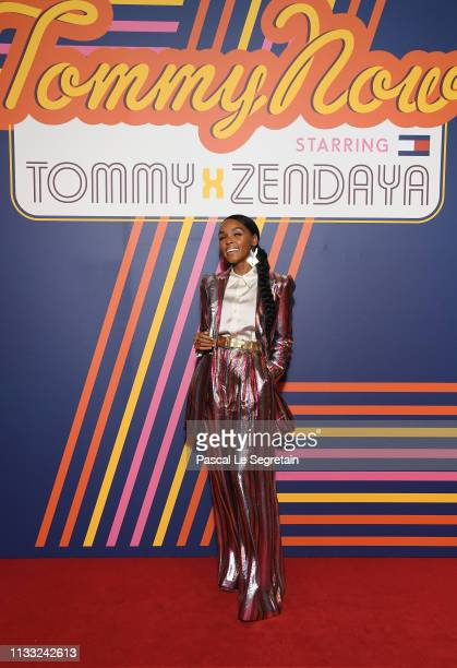 Janelle Monae attends the Tommy Hilfiger TOMMYNOW Spring 2019 TommyXZendaya Premieres at Theatre des ChampsElysees on March 02 2019 in Paris France