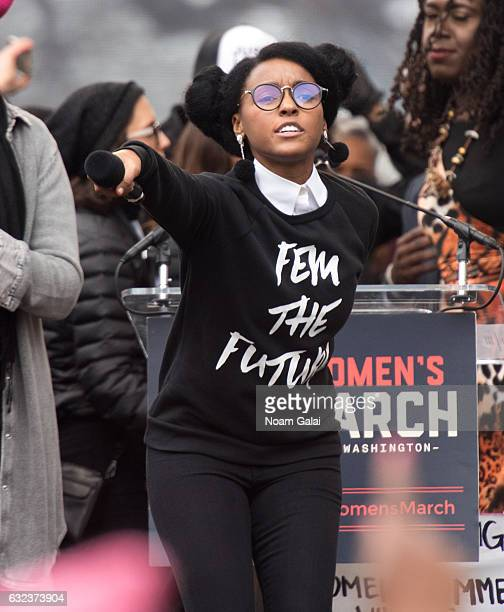 Janelle Monae attends the Women's March on Washington on January 21 2017 in Washington DC