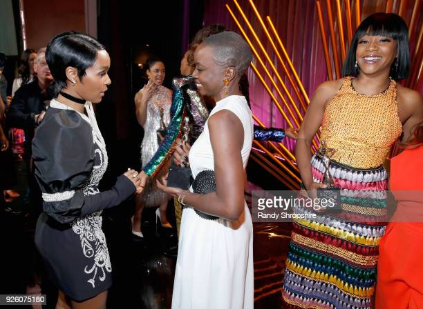 Janelle Monae Danai Gurira and Tiffany Haddish onstage during the 2018 Essence Black Women In Hollywood Oscars Luncheon at Regent Beverly Wilshire...