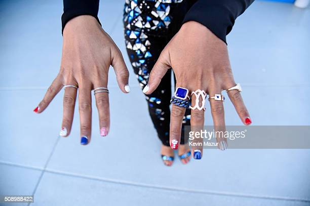 Janelle Monae films a special welcome to the millions of fans watching the Pepsi Super Bowl Halftime Show at Levi's Stadium on February 3 2016 in...