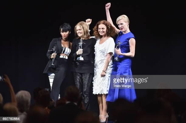 Janelle Monae Gloria Steinem Diane von Furstenberg and Cecile Richards pose onstage during the 2017 CFDA Fashion Awards at Hammerstein Ballroom on...