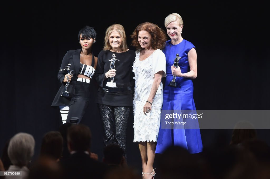Janelle Monae, Gloria Steinem, Diane von Furstenberg and Cecile Richards pose onstage during the 2017 CFDA Fashion Awards at Hammerstein Ballroom on June 5, 2017 in New York City.