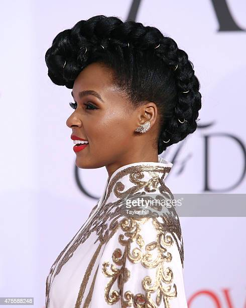 Janelle Monae hairstyle detail attends the 2015 CFDA Awards at Alice Tully Hall at Lincoln Center on June 1 2015 in New York City