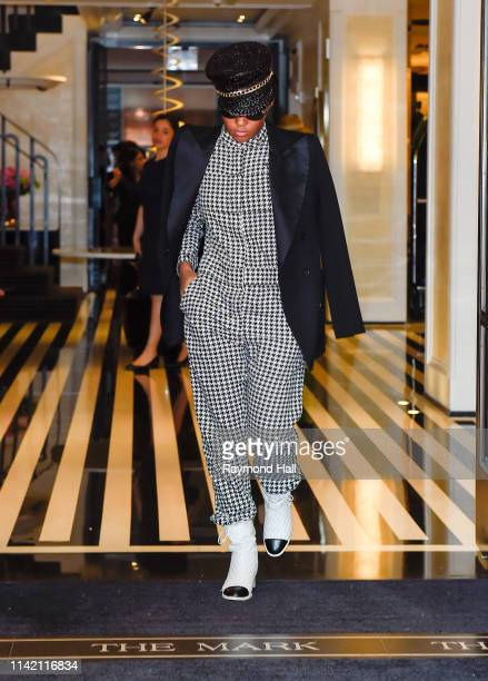 Janelle Monae is seen walking out of The Mark Hotel on May 7, 2019 in New York City.