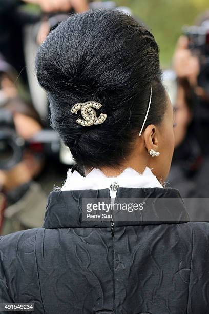 Janelle Monae jewelry detail arrives at the Chanel show as part of the Paris Fashion Week Womenswear Spring/Summer 2016 on October 6 2015 in Paris...