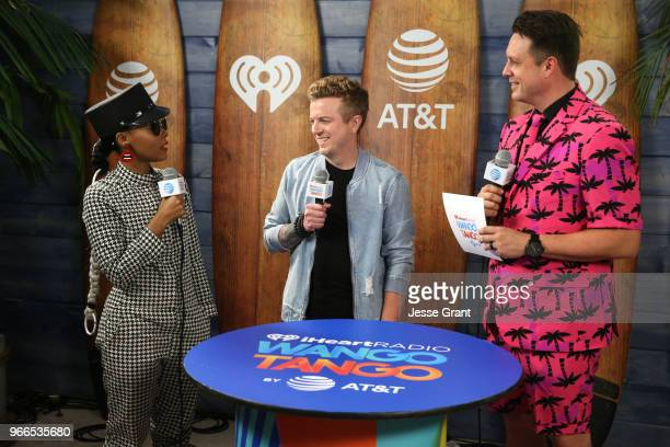 Janelle Monae JoJo Wright and Jesse Lozano backstage at the 2018 iHeartRadio Wango Tango by ATT at Banc of California Stadium on June 2 2018 in Los...