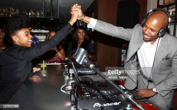 Janelle Monae Marvet Britto and DJ DNice attend the Atlantic Records Party Presented By Swaggat Cecconi's Restaurant on June 27 2010 in Los Angeles...