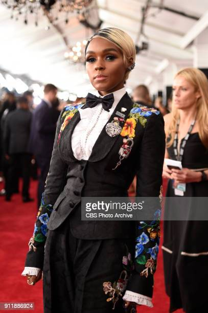 Janelle Monae on the red carpet at THE 60TH ANNUAL GRAMMY AWARDS broadcast live on both coasts from New York City's Madison Square Garden on Sunday...