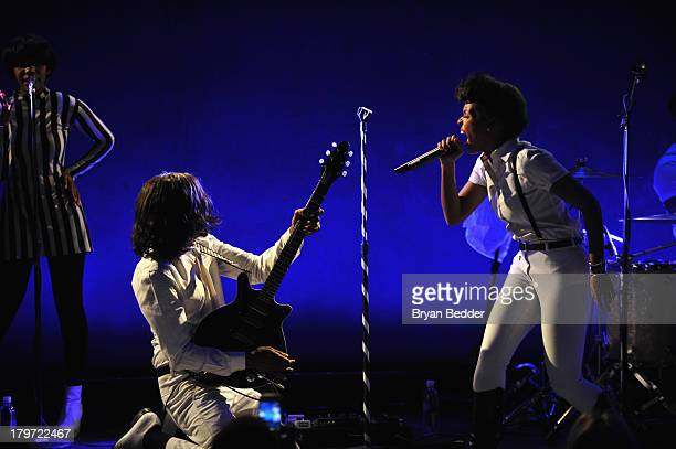 Janelle Monae perfoms onstage at American Express UNSTAGED with Rebecca Minkoff And Janelle Monae at Lincoln Center on September 6 2013 in New York...
