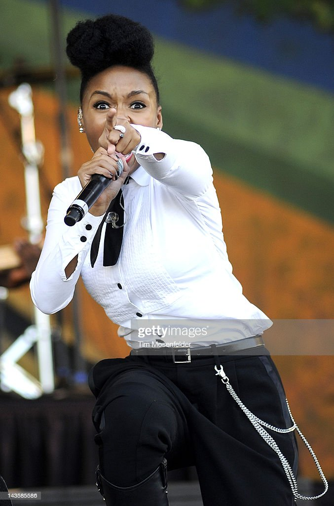 Janelle Monae performs as part of the 2012 New Orleans Jazz & Heritage Festival at Fair Grounds Race Course on April 29, 2012 in New Orleans, Louisiana.