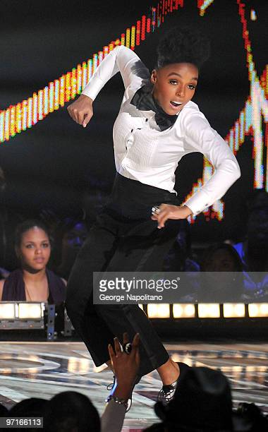 Janelle Monae performs at the BET's Rip The Runway 2010 at the Hammerstein Ballroom on February 27 2010 in New York City