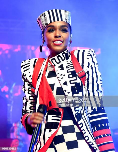 Janelle Monae performs at the Greek Theatre on June 28 2018 in Los Angeles California