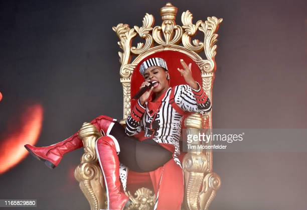Janelle Monae performs during 2019 Lollapalooza day two at Grant Park on August 02, 2019 in Chicago, Illinois.
