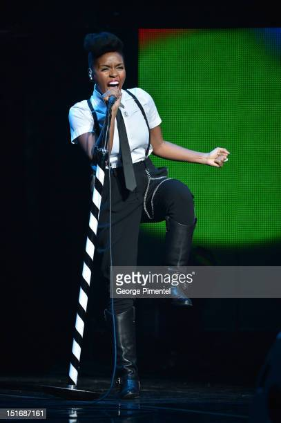 Janelle Monae performs during Fashion Cares: A Night Of Glitter & Light Featuring Elton John at Sony Centre For Performing Arts on September 9, 2012...
