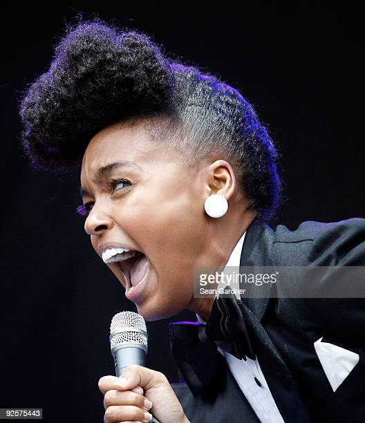 Janelle Monae performs during the 2009 Voodoo Experience at City Park on October 30 2009 in New Orleans Louisiana