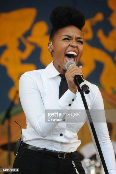 Janelle Monae performs during the 2012 New Orleans Jazz & Heritage Festival at the Fair Grounds Race Course on April 29, 2012 in New Orleans,...