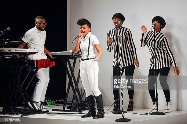 Janelle Monae performs during the Rebecca Minkoff Spring 2014 fashion show at The Theater at Lincoln Center on September 6, 2013 in New York City.