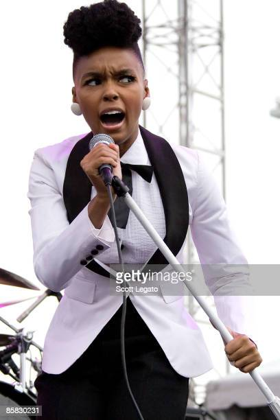 Janelle Monae performs in the NCAA Big Dance concert series at the Detroit Riverfront on April 5 2009 in Detroit Michigan