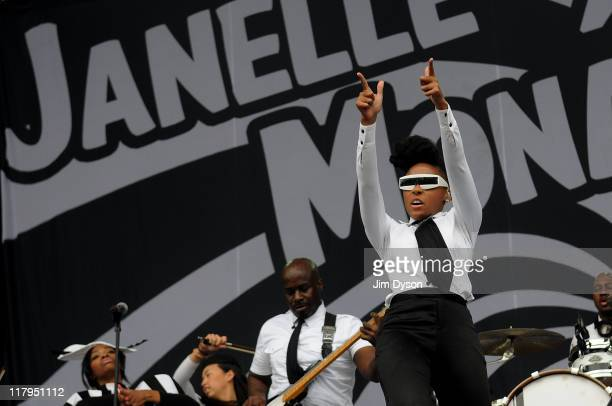 Janelle Monae performs live on stage during the second day of the Wireless Festival at Hyde Park on July 2 2011 in London England