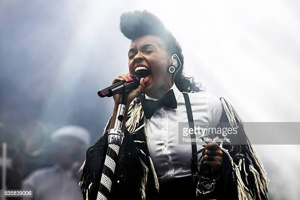 Janelle Monae performs on Day 3 of the Boston Calling Festival on Government Center Plaza on May 29 2016 in Boston Massachusetts