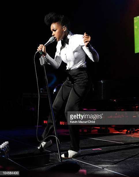 Janelle Monae performs on stage during Keep A Child Alive's 7th annual Black Ball at Hammerstein Ballroom on September 30, 2010 in New York City.