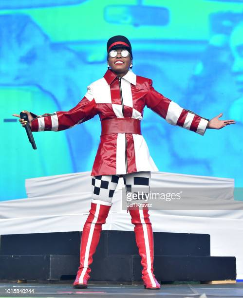 Janelle Monae performs on the Lands End Stage during the 2018 Outside Lands Music And Arts Festival at Golden Gate Park on August 12 2018 in San...
