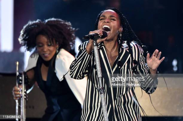 Janelle Monae performs onstage at AllStar Lineup Pays Tribute At 'Aretha A GRAMMYCelebration For The Queen Of Soul at The Shrine Auditorium on...