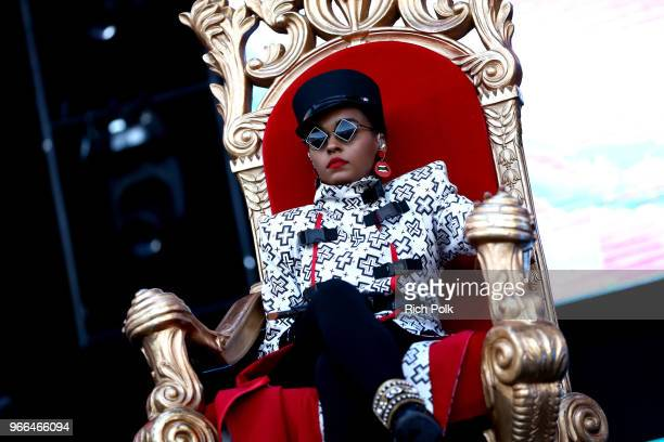 Janelle Monae performs onstage during the 2018 iHeartRadio Wango Tango by ATT at Banc of California Stadium on June 2 2018 in Los Angeles California