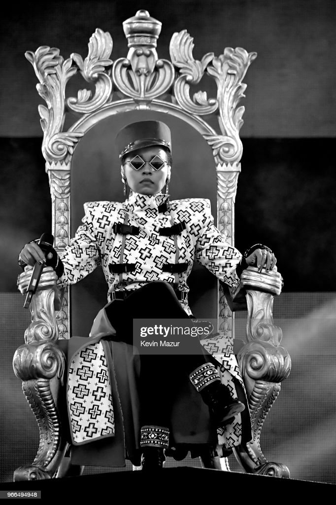 This image has been converted to black and white. Color image available.) Janelle Monae performs onstage during the 2018 iHeartRadio Wango Tango by AT&T at Banc of California Stadium on June 2, 2018 in Los Angeles, California.