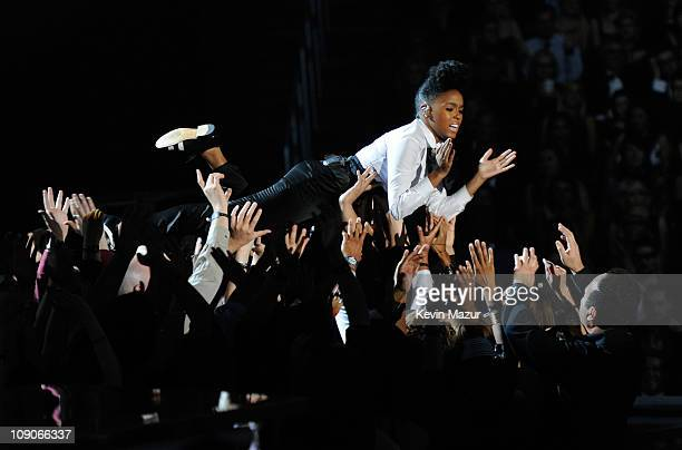 Janelle Monae performs onstage during The 53rd Annual GRAMMY Awards held at Staples Center on February 13, 2011 in Los Angeles, California.