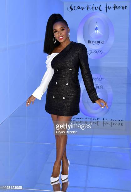 Janelle Monae poses for a photo as Belvedere Vodka x Janelle Monae Celebrate the Launch Of A Beautiful Future Limited Edition Bottle at The Tisch...