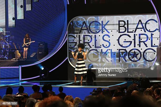 Janelle Monae speaks onstage during Black Girls Rock 2015 at NJ Performing Arts Center on March 28 in Newark New Jersey