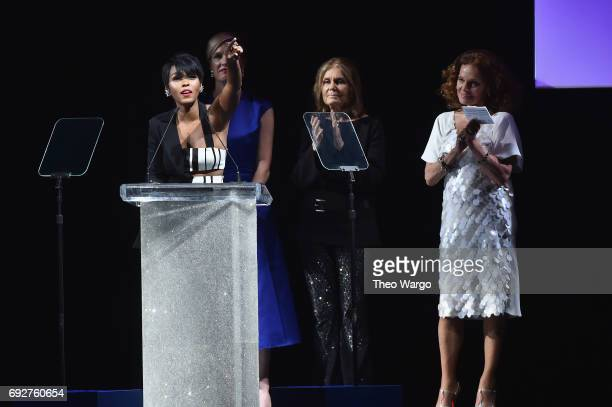 Janelle Monae speaks onstage during the 2017 CFDA Fashion Awards at Hammerstein Ballroom on June 5 2017 in New York City