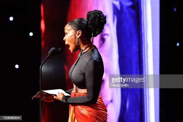 Janelle Monae speaks onstage during the 51st NAACP Image Awards Presented by BET at Pasadena Civic Auditorium on February 22 2020 in Pasadena...