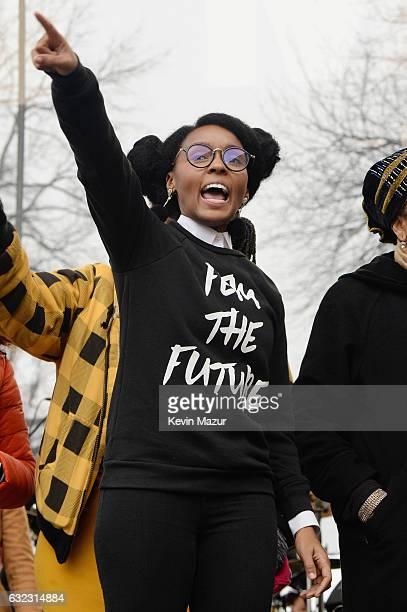Janelle Monae speaks onstage during the rally at the Women's March on Washington on January 21 2017 in Washington DC