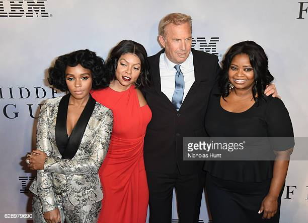 Janelle Monae Taraji P Henson Kevin Costner and Octavia Spencer attend the Hidden Figures New York Special Screening on December 10 2016 in New York...
