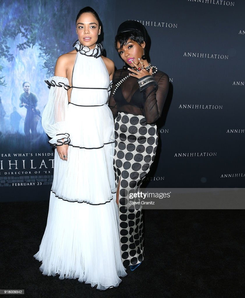 Janelle Monae, Tessa Thompson arrives at the Premiere Of Paramount Pictures' 'Annihilation' at Regency Village Theatre on February 13, 2018 in Westwood, California.
