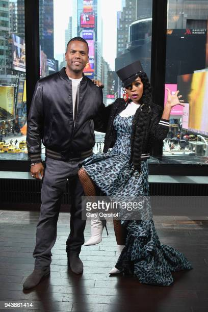 Janelle Monae visits 'Extra' with host AJ Calloway at R Lounge at the Renaissance Hotel on April 9 2018 in New York City
