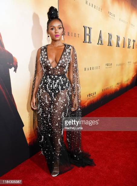 "Janelle Monáe attends the premiere of Focus Features' ""Harriet"" at The Orpheum Theatre on October 29, 2019 in Los Angeles, California."