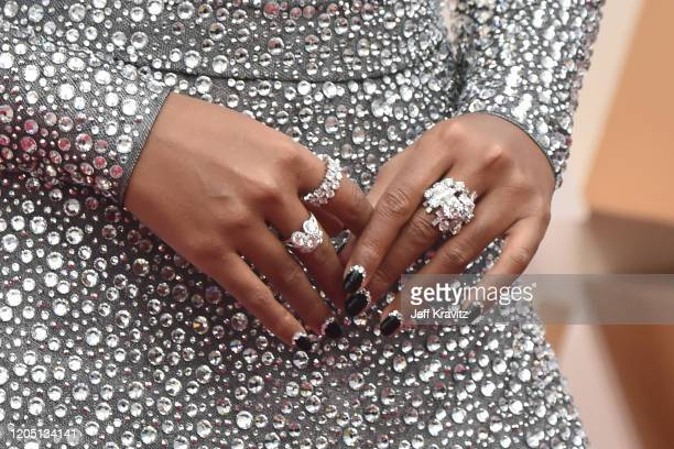 Janelle Monáe, jewelry detail, attends the 92nd Annual Academy Awards at Hollywood and Highland on February 09, 2020 in Hollywood, California.