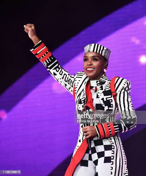 Janelle Monáe performs at Coachella Stage during the 2019 Coachella Valley Music And Arts Festival on April 19 2019 in Indio California
