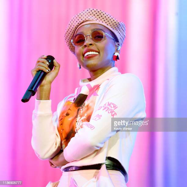 Janelle Monáe performs on Coachella Stage during the 2019 Coachella Valley Music And Arts Festival on April 12 2019 in Indio California