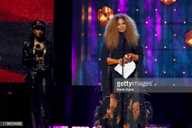 Janelle Monáe presents Inductee Janet Jackson at the 2019 Rock Roll Hall Of Fame Induction Ceremony Show at Barclays Center on March 29 2019 in New...