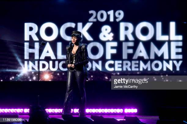 Janelle Monáe speaks onstage during at the 2019 Rock & Roll Hall Of Fame Induction Ceremony - Show at Barclays Center on March 29, 2019 in New York...