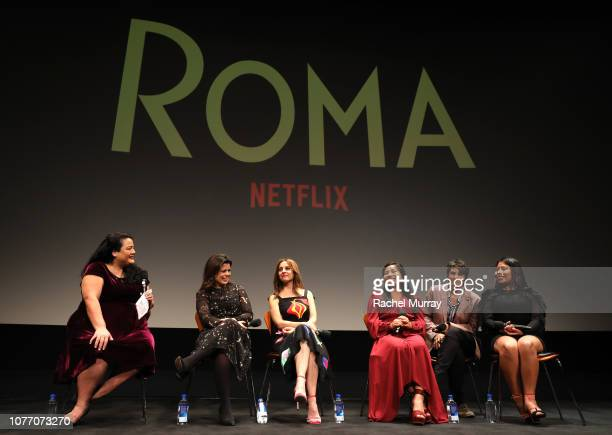 Janelle Riley Gabriela Rodriguez Marina De Tavira Yalitza Aparicio translator and Nancy Garcia Garcia speak onstage at the ROMA QA and Reception at...