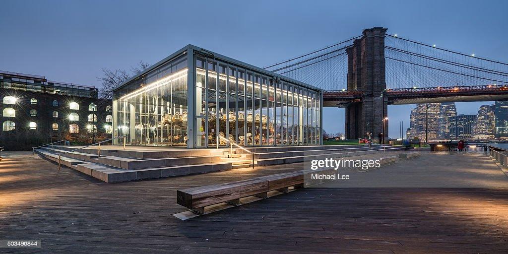 Jane's Carousel and Brooklyn Bridge Park - New York : Stock Photo