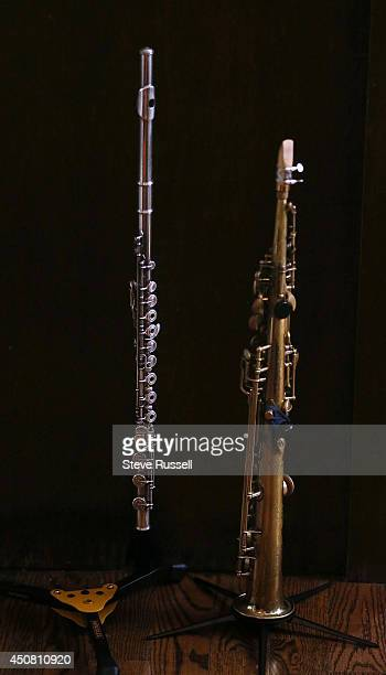 TORONTO ON JUNE 14 Jane's flute and saxophone sit during a break Saxophone player Jane Bunnett and her allgirl Cuban band rehearse for their upcoming...