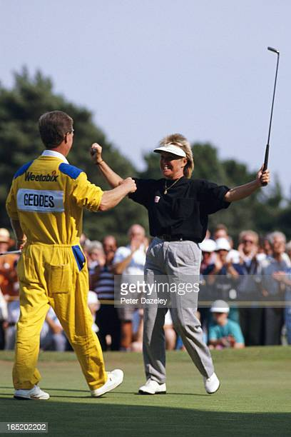 Janes Geddes on her way to winning the Weetabix Women's British Open during the final day of the 1989 Women's British at Ferndown Golf Club on August...