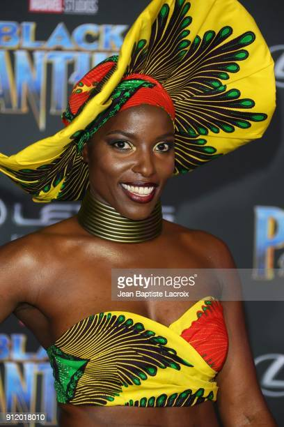 Janeshia AdamsGinyard attends the premiere of Disney and Marvel's 'Black Panther' on January 28 2018 in Los Angeles California