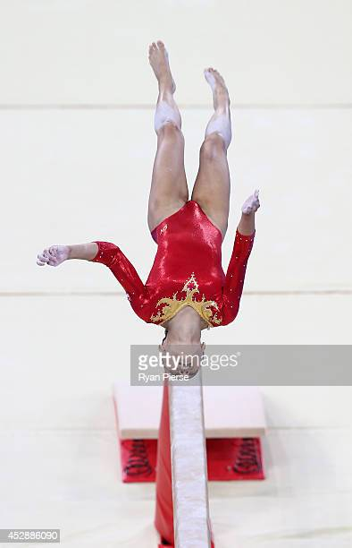 Janessa Dai of Singapore competes on the Beam during the Women's Team Final at SECC Precinct during day six of the Glasgow 2014 Commonwealth Games on...
